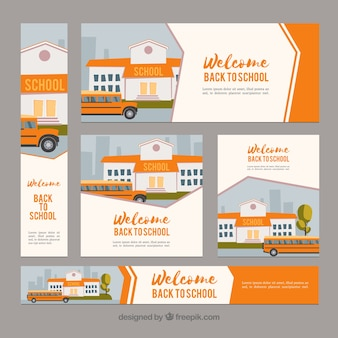 Modern orange back to school web banners
