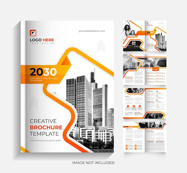 Modern orange and black 8 page corporate business brochure