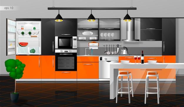 Modern orange and black kitchen interior vector illustration household kitchen appliances