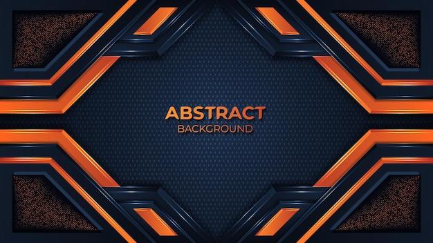 エレガントな形と輝きのドット要素の装飾とモダンなオレンジ色の幾何学模様の背景