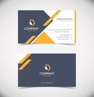 Modern orange grey business card design template with geometric shape