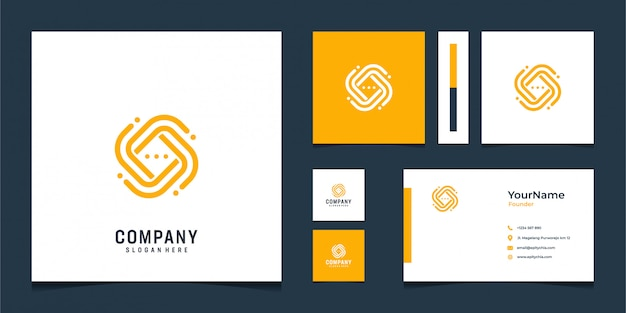 Modern orange logo and business card design in abstract shape