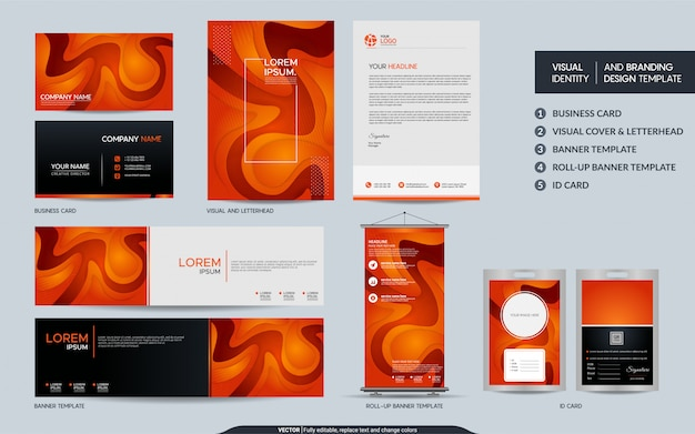 Modern orange stationery set and visual brand identity with abstract colorful dynamic background shape.