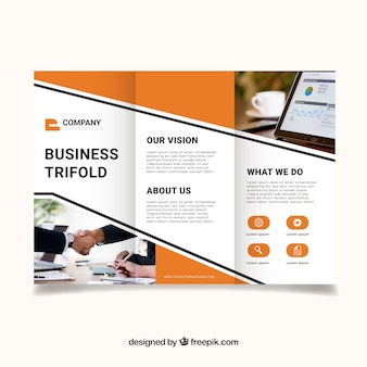 Modern orange trifold business brochure