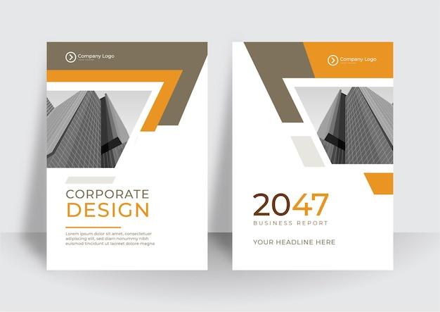 Современный оранжевый белый дизайн обложки формата а4 для бизнеса. абстрактная геометрия с корпоративной концепцией