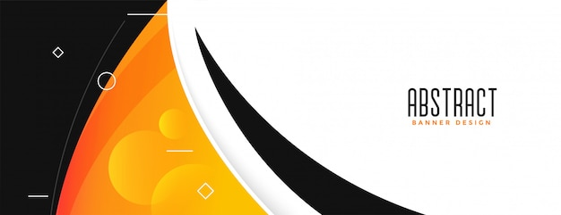 Modern orange yellow color abstract curvy shape banner