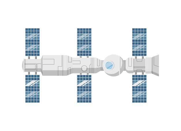 Modern orbital space station isolated icon