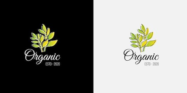 お茶や健康的な有機食品ビジネスに適した植物と葉を持つモダンなオーガニックロゴのコンセプト