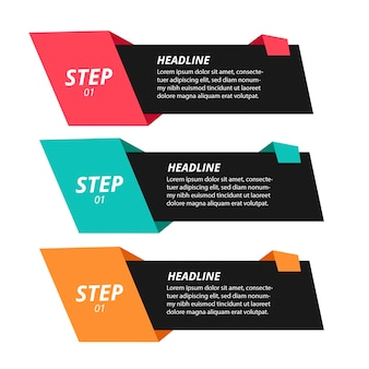 Modern origami step infographics