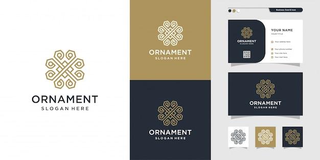 현대 장식 라인 아트 로고 및 명함 디자인, 럭셔리, 추상, 아름다움, 장식, 아이콘 프리미엄