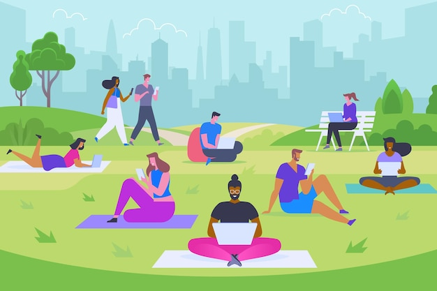 Modern outdoor rest flat vector illustration. young men and women with laptops and smartphones cartoon characters. happy people using digital devices. internet surfing, freelance, distance job