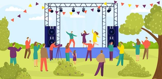 現代の野外ロックミュージックフェスティバルの人々のキャラクターが一緒にエンターテインメントパフォーマンスフラットveを見る...