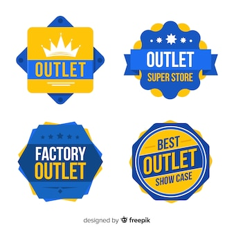 Modern outlet badge collection with flat design