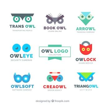 9つの現代的なフクロウのロゴコレクション