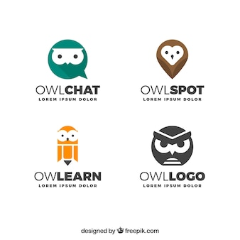 Modern owl logo collection Free Vector