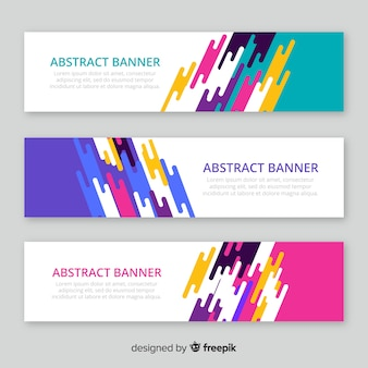 Modern pack of abstract banners with flat design