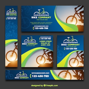 Modern pack of banners with bikes