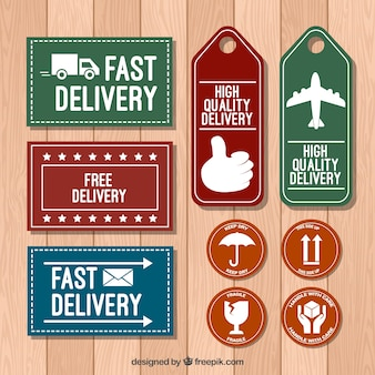 Modern pack of delivery labels with elegant style
