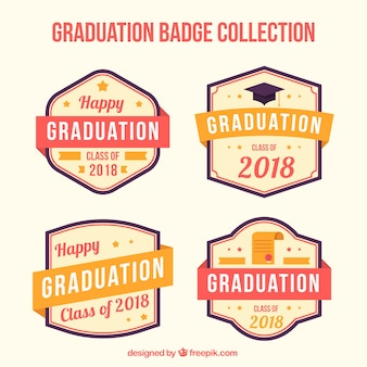 Modern pack graduation label collection with flat design