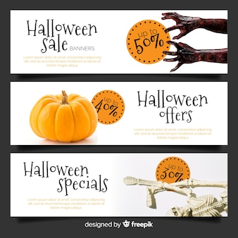 Modern pack of halloween web sale banners