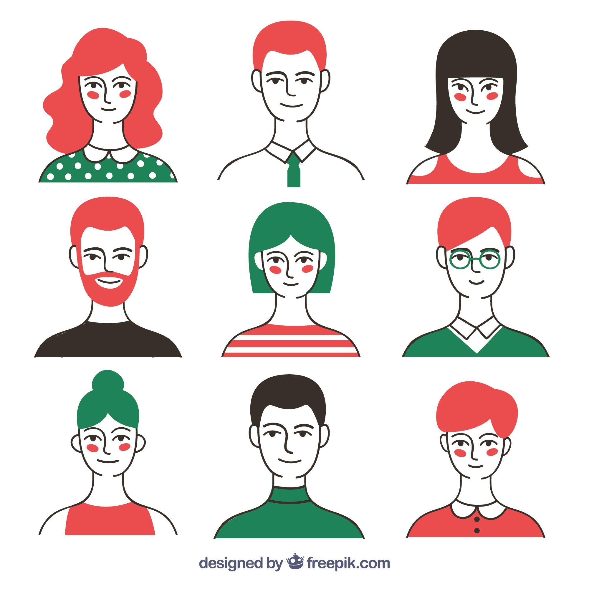 Modern pack of colorful avatars