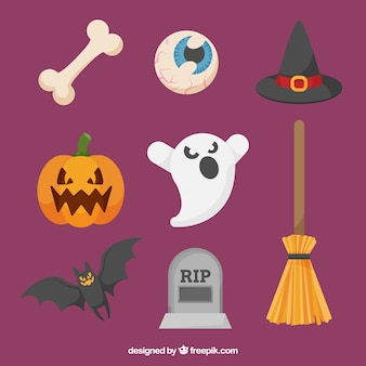 Modern pack of flat halloween elements