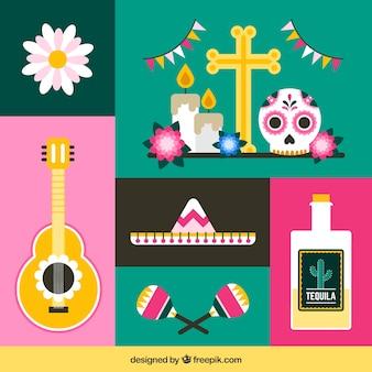 平らなメキシコの要素の現代的なパック