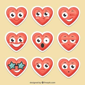 Современный пакет забавных сердечных наклеек