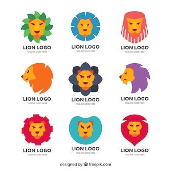楽しいスタイルのライオンロゴの最新パック