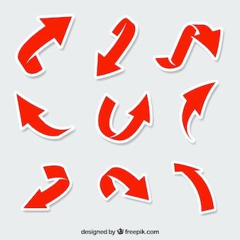 빨간색 화살표 스티커의 현대 팩