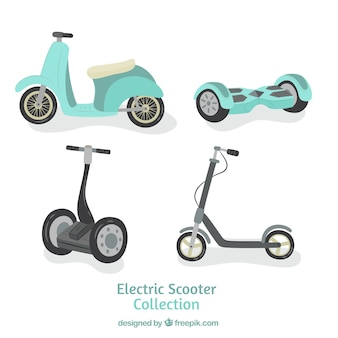 Modern pack of urban scooters
