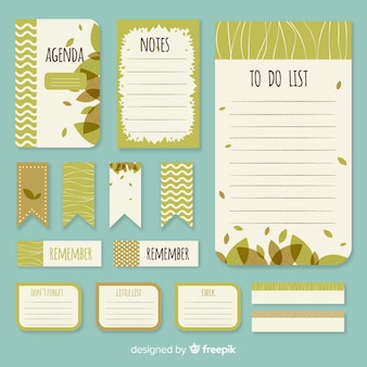 Modern pack of planning elements