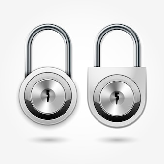 Modern padlock - round locker door lock icon for flat key, school lockers