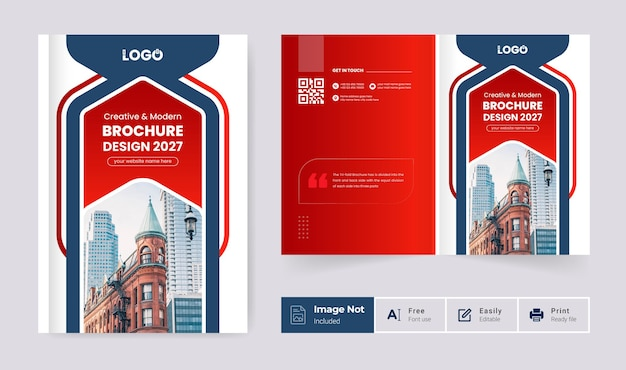 Modern pages brochure cover page design template red color abstract creative layout