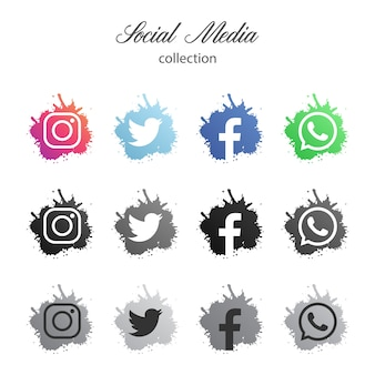 Modern Paint Splash Social Media logotype collection