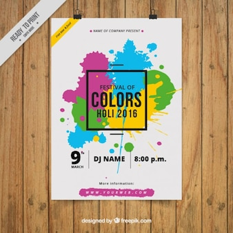 Modern paint splashes holi poster