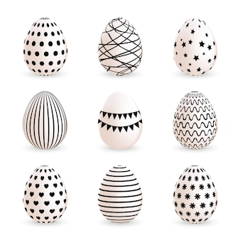 Modern painted easter eggs set on white background