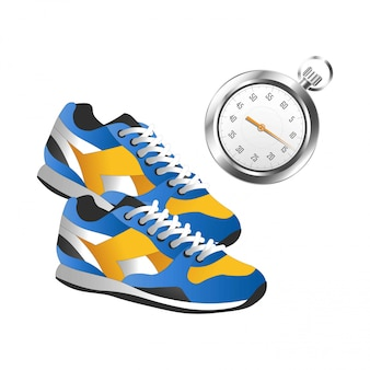 Modern pair of sneakers for sport and silver timer