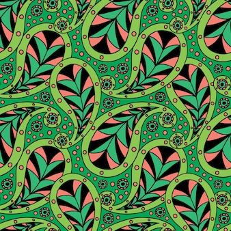 明るい緑色のモダンなペイズリー柄。リネンと壁紙のペイズリー民俗シームレスパターン。