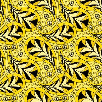 벽지, 직물, 직물 인쇄, 포장지를 위한 밝은 노란색의 현대적인 페이즐리 패턴.