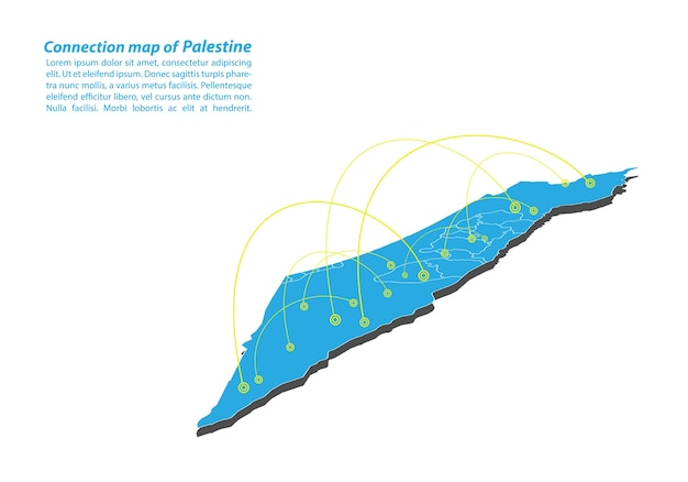 Modern of palestine map connections network design