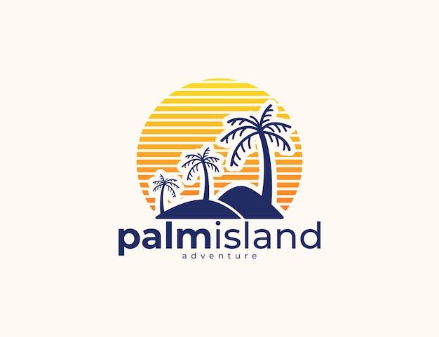 夕日のロゴデザインとモダンなヤシの木の島と山