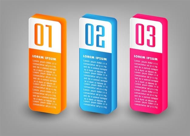 Modern paper 3d text box template, banner infographic
