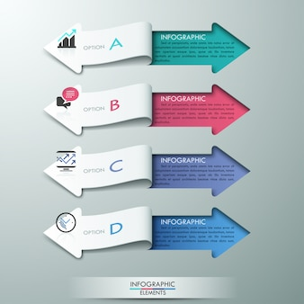 Modern paper arrow style infographic options banner