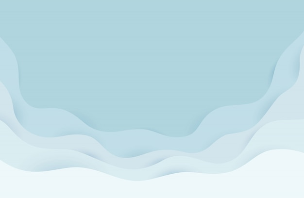 Modern paper art cartoon abstract gray and white water waves. realistic trendy craft style. origami design template.