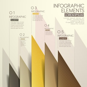 Modern paper cut triangle infographic elements template