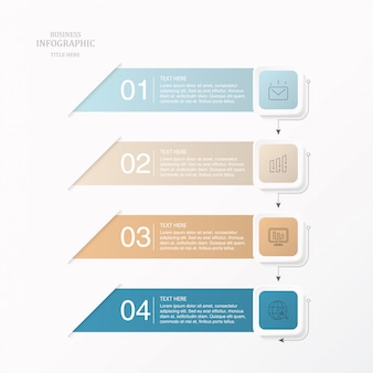 Modern paper element infographic for business concept.
