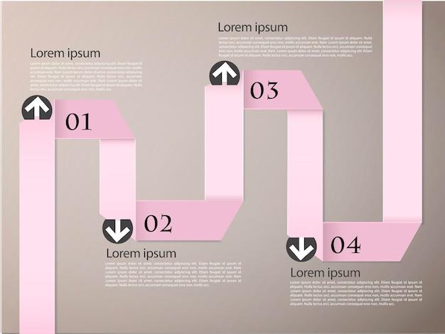 현대 종이 접기 개념 infographic 요소 템플릿