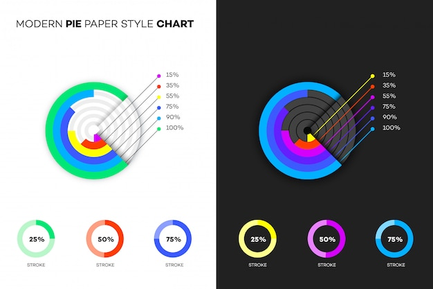 Modern paper style pie chart.