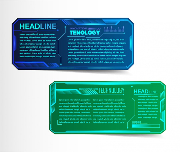 Modern paper text box template, circuit banner infographic